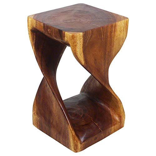 Haussmann Original Wood Twist Stool 12 x 12 x 20 in High Walnut Oil