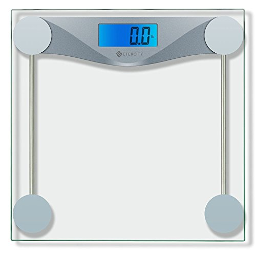 Etekcity Digital Body Weight Bathroom Scale With Body Tape Measure, Tempered Glass, 400 Pounds Scales (Scale Thinner)