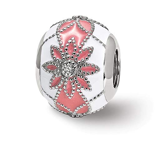 Mia Diamonds 925 Sterling Silver Reflections Cubic Zirconia (CZ) s White and Pink Enameled Flowers Bead