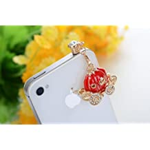 Big Mango Lovely Fairy Pumpkin Carriage with Bling Diamond Anti Dust Plug Stopper / Ear Cap / Cell Phone Charms for Apple iPhone 5 5S 5C iPhone 4 4s ,iPad Mini iPad 2 ,iPod Touch 5 4,Samsung Galaxy S3 S4 Note3 Note 2,HTC and Other 3.5mm Earphone Jack Phones ( Red )