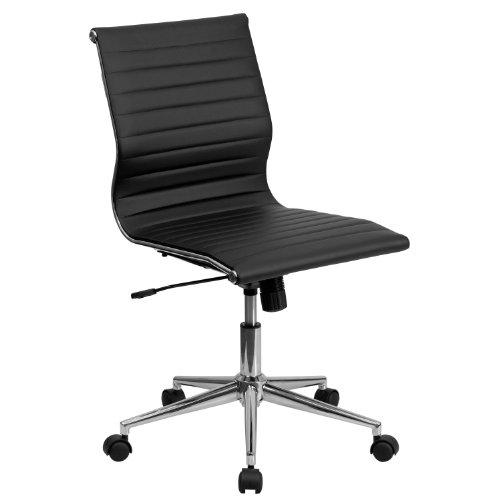 Flash Furniture Juno Mid-Back Armless Ribbed Leather Swivel Conference Chair Black Single
