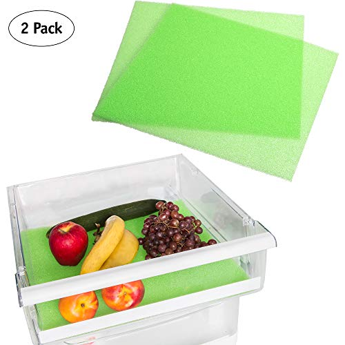 Fruit and Veggie Life Extender Liner by Tenquest 2-Pack, 15X14 Inch, Refrigerator Shelf - Produce Saver, Extends Life and Keeps Refrigerator Fresh Prevents Spoilage -Instructions Included …