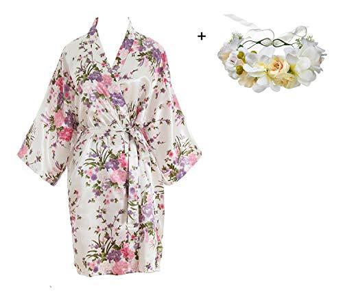 luxurysmart Cherry Blossoms Floral Satin Kimono Robe, White, One Size