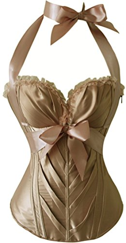 Vacodo Women's Victorian Sweetheart Satin Overbust Corset Bustier Basque Top (Small, Beige)