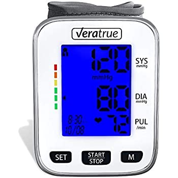 Wrist Blood Pressure Monitor by Veratrue - Includes: Fully Automatic Monitor, 2AAA & Carrying case - XXL LCD Display, Blue Backlight, Irregular Heartbeat ...