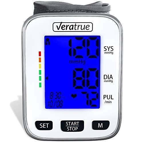Wrist Blood Pressure Monitor by Veratrue - Includes: Fully Automatic Monitor, 2AAA & Carrying case - XXL LCD Display, Blue Backlight, Irregular Heartbeat Detector, Memory