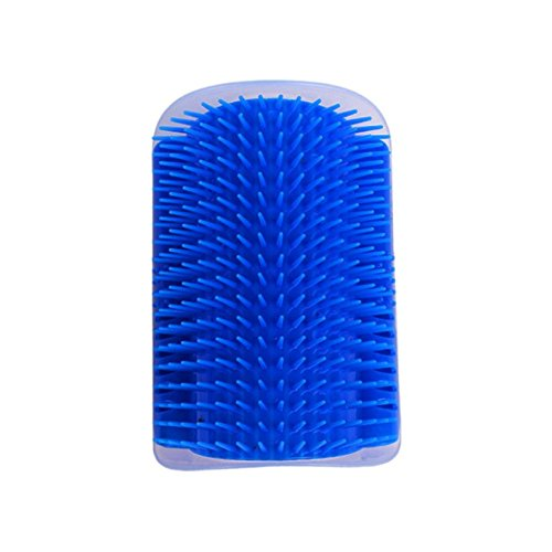 KayMayn Pet Cat Groomer Wall Corner Comb Hair Removal Brush Self-Groomer Massager Scratcher with Catnip,Mounted Massage Itching New Tool Cat Toys Blue