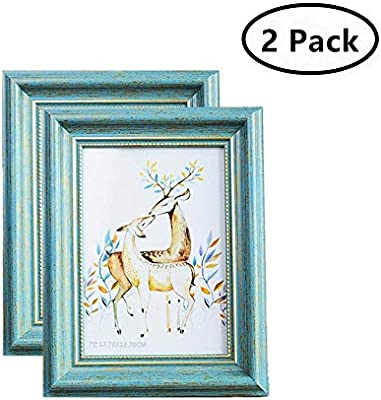 2f74d71006c2 MUAMAX Antique Teal 5 x 7 Picture Frames Aqua Photo Frames for Table Top  Wall Hanging Display Turquoise(2-Pack)