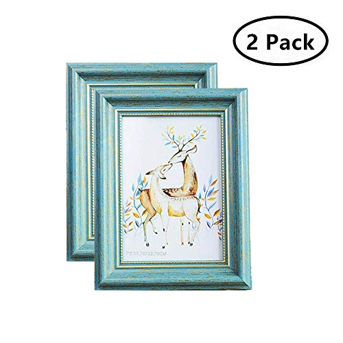 7' Square Frame - MUAMAX Antique Teal 5 x 7 Picture Frames Aqua Photo Frames for Table Top Wall Hanging Display Turquoise(2-Pack)
