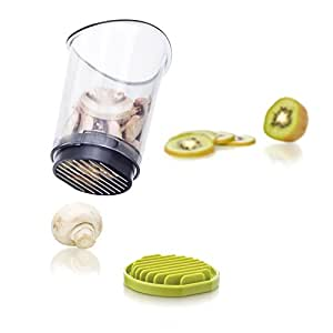 Vacu Vin Slice and Catch Vegetable and Fruit Slicer - White and Green