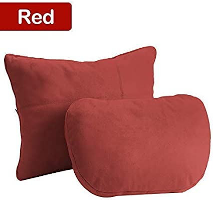 Luxury Soft Plush Microfiber Leather Cover for Car Seat 2Pcs Compatible with Most Cars Fleming Car Neck Pillow /& Lumbar Pillows Support Cushion Kit