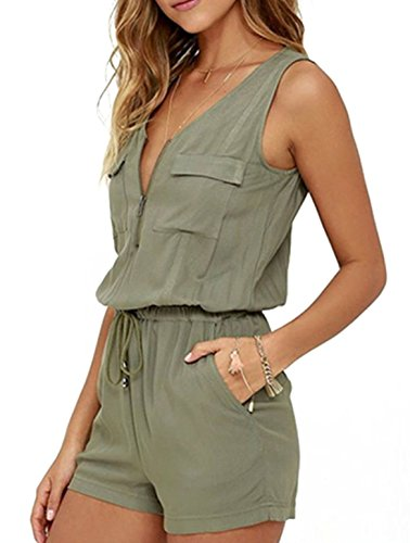 Women Summer Army Green V Neck Zip Up Short Rompers Jumpsuits