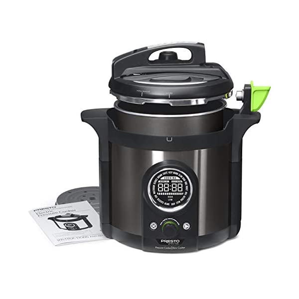 Presto 02142 Precise 6-Quart Multi-use Programmable Plus Electric Pressure Cooker, 6qt, Black Stainless Steel 2