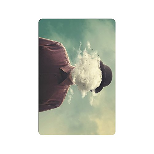 "InterestPrint Cool Man Head in The Clouds Surreal Minimalist Concept Doormat Non-Slip Indoor And Outdoor Door Mat Rug Home Decor, Entrance Rug Floor Mats Rubber Backing, 23.6""(L) x 15.7""(W)"