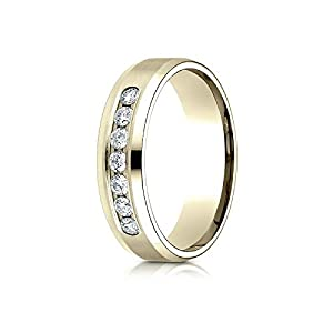 14k Yellow Gold 6mm Comfort-Fit Channel Set 7-Stone Diamond Ring (.42ct) - Size 13