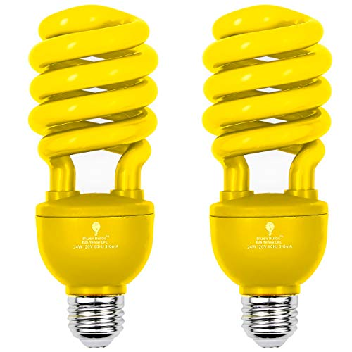 2 Pack BlueX CFL Yellow Bug Light Bulbs 24W - 100-Watt Equivalent - E26 Spiral Replacement Yellow Light Bulbs - Bulb Yellow Decorative Illumination - for Indoor or Outdoor Bug Bulb Colored Bulbs