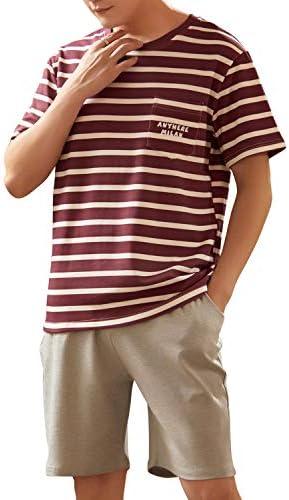 綿100% パジャマ 半袖 メンズ YGOCH 上下セット 春夏 柔らかく 紳士 シルクパジャマ 薄手 快適 ポケット付 ゆったり 軽い 半袖&短ズボン