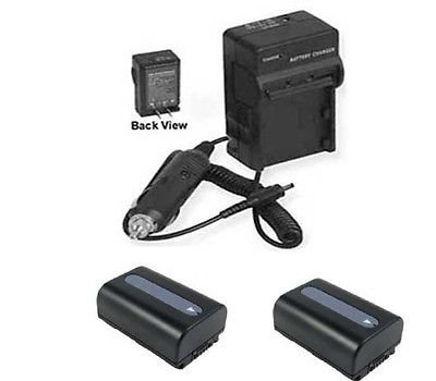 2X Batteries + Charger for Sony HDR-CX250, Sony HDR-CX250E, Sony HDR-CX250B, Sony HDR-CX260, Sony CX260V