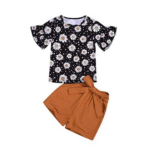 Toddler Baby Girl Sumflower Outfits Flare Sleeve Shirts Top + Bows Waistband Shorts Pants Summer Clothes Set (Sunflower, 1-2 Years)