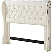 Urban Home Furniture Cambridge Tufted Wing Headboard, Full/Queen, Cornstarch