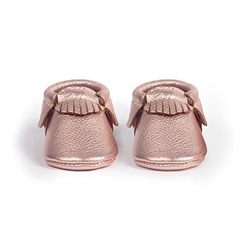 Freshly Picked Soft Sole Leather Baby Moccasins - Rose Gold - Size 6 by Freshly Picked