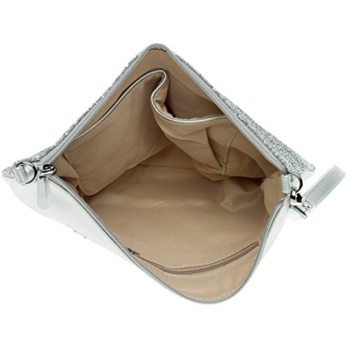 CASPAR TA341 große Damen XL Glitzer Pailletten Clutch Tasche Abendtasche mit Handschlaufe silber / silber