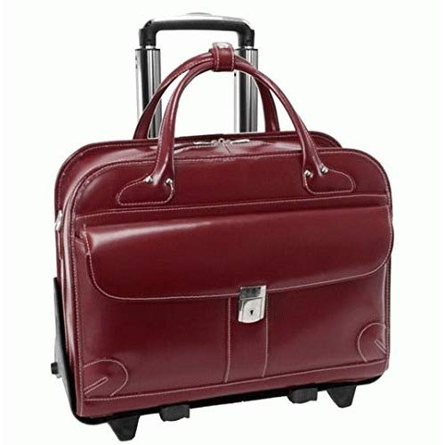 (Checkpoint-Friendly Women's Laptop Briefcase, Leather, Mid-Size, Red - Lakewood | McKlein -)