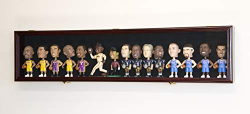 Horizontal Bobble Head Action Figures Doll Display Case Cabinet Wall Rack - Lockable (Cherry Wood Finish, Black Felt Background)