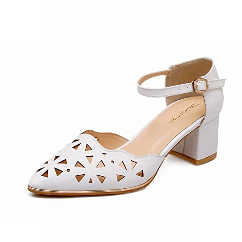 Carol Shoes Cute Womens Sweet Buckle Pointed-toe Pierced Mid Chunky Heel Mary Janes Sandals White 9BSQZn
