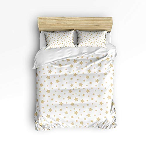 YEHO Art Gallery Full Size Cute 3 Piece Duvet Cover Sets Soft Bed Sets for Kids Boys Girls,Universe Star White Pattern,Bedding Set Include 1 Comforter Cover with 2 Pillow Cases