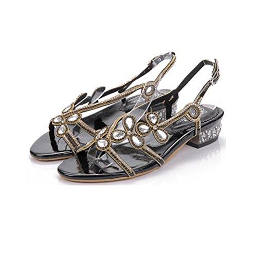 Boucle Talon 44 Femmes Sandales Paillettes Xie Bouche De Plat Rugueux Profonde Hauts Black Peu Ajouré Perlée Talons Grande Taille Chaussures Strass CErdeWxBQo