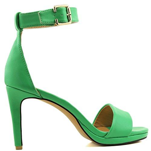 Sandal Dress Evening Open Shoes Casual Green Platform High Buckle Pump Strap Toe Women's Heel Ankle PU HzwF7WUq