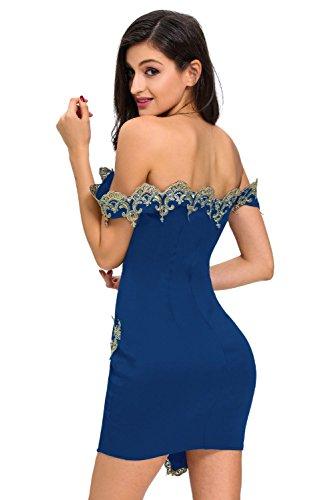 New Blau amp; Gold Spitze Figurbetont Mini Kleid Club Wear Kleider ...