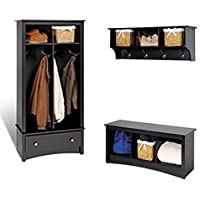 Prepac Black Sonoma Entryway Package With Cubby Bench , Coat Rack and Hall Tree