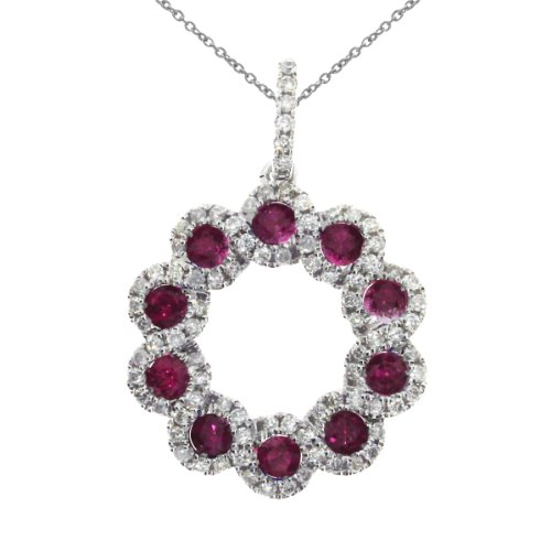 Gold Ruby Circle Pendant (0.50 Carat (ctw) 14k White Gold Round Red Ruby and Diamond Women's Circle Pendant with 18