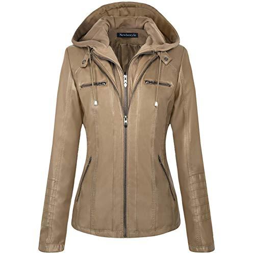 Leather Quilted Hat - Newbestyle Women Hooded Faux Leather Jacket Hat Detachable Zipper Jacket Women Motorcyle Jacket,Khaki,Large