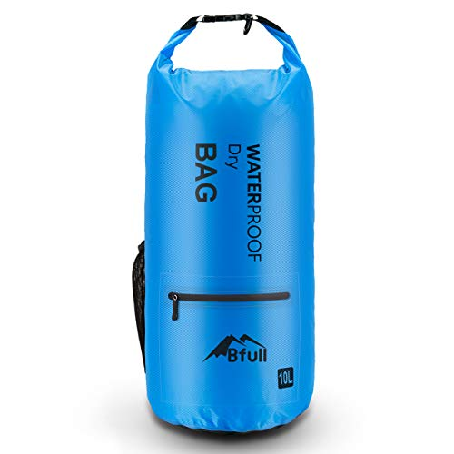 BFULL Waterproof Dry Bag 5L/10L/20L/30L/40L [Lightweight Compact] Roll Top Water Proof Backpack with 2 Exterior Zip Pocket for Kayaking, Boating, Duffle, Camping, Floating, Rafting, Fishing