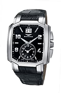 Sandoz 81295-05 - Reloj de caballero de cuarzo, correa de piel color negro