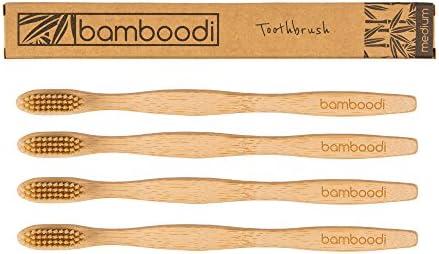 Bambus Zahnbürste von Bamboodi BPA-freie Bambuszahnbürste, plastikfrei verpackt, vegane mittelweiche Borsten nachhaltiges Naturprodukt (4er Pack)