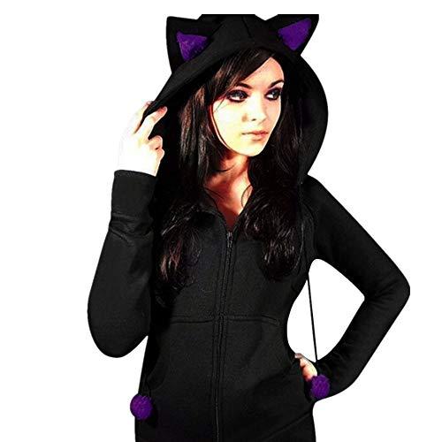 Botrong Women Cat Bandages Fleece Hooded Long Sleeve Slim Fit Outerwear Coat (L, Purple) -