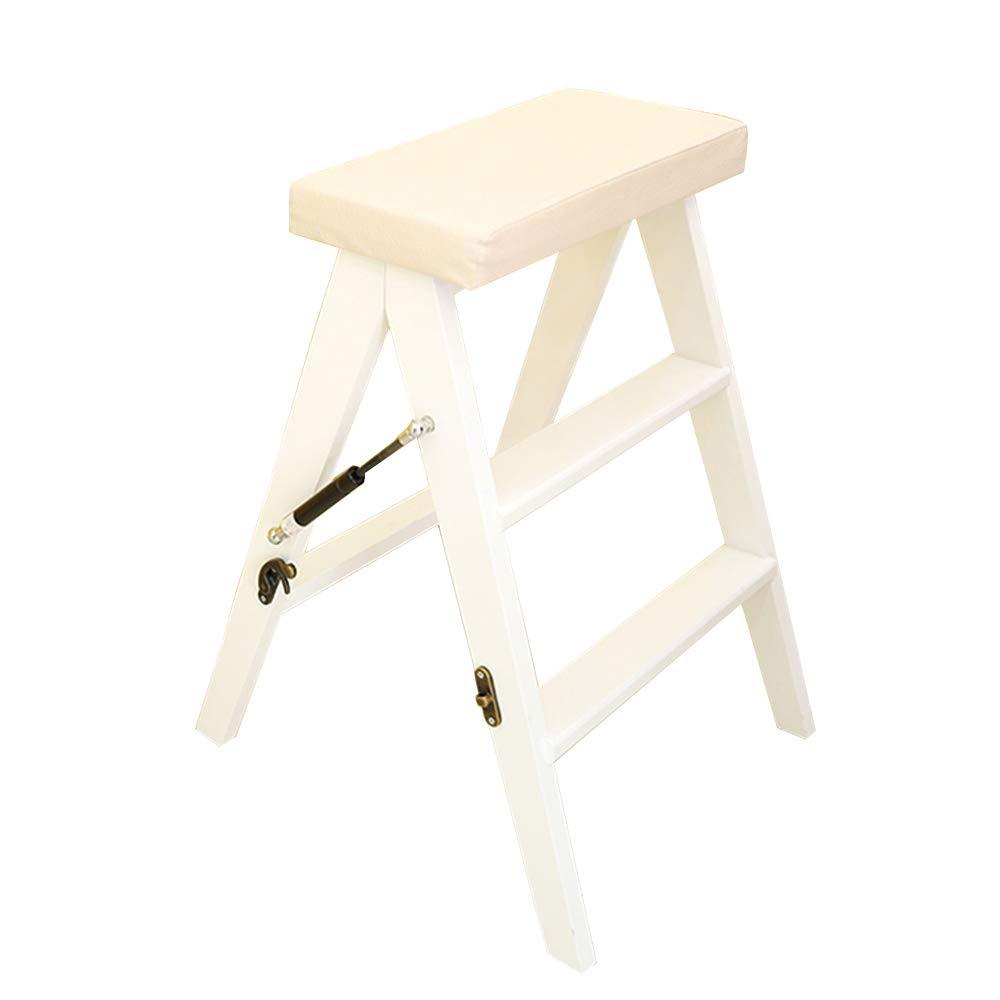 Djyyh 多機能ラダースツール木製折り畳み式アンチスリップキッチン3段150kg容量洗濯可能パッド(3色) (色 : 白) B07SCKK3WC 白