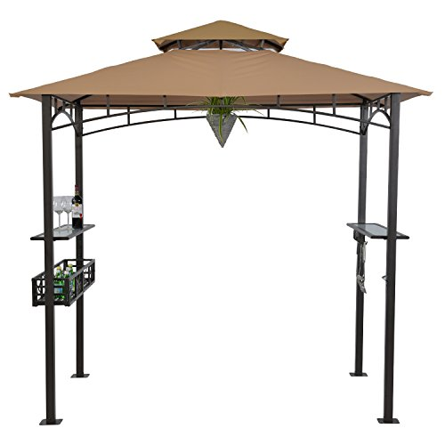 LCH 8' x 5' Outdoor Grill Gazebo Patio BBQ Soft Top Canopy Tent, Beige