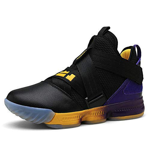 SIX FOOTPRINTS Men's High-Top Basketball Shoes Fashion Casual Breathable Running Sports Shoes Shock-Absorbing Non-Slip Wear-Resistant Boots (8.5 M US Men, Black Purple)
