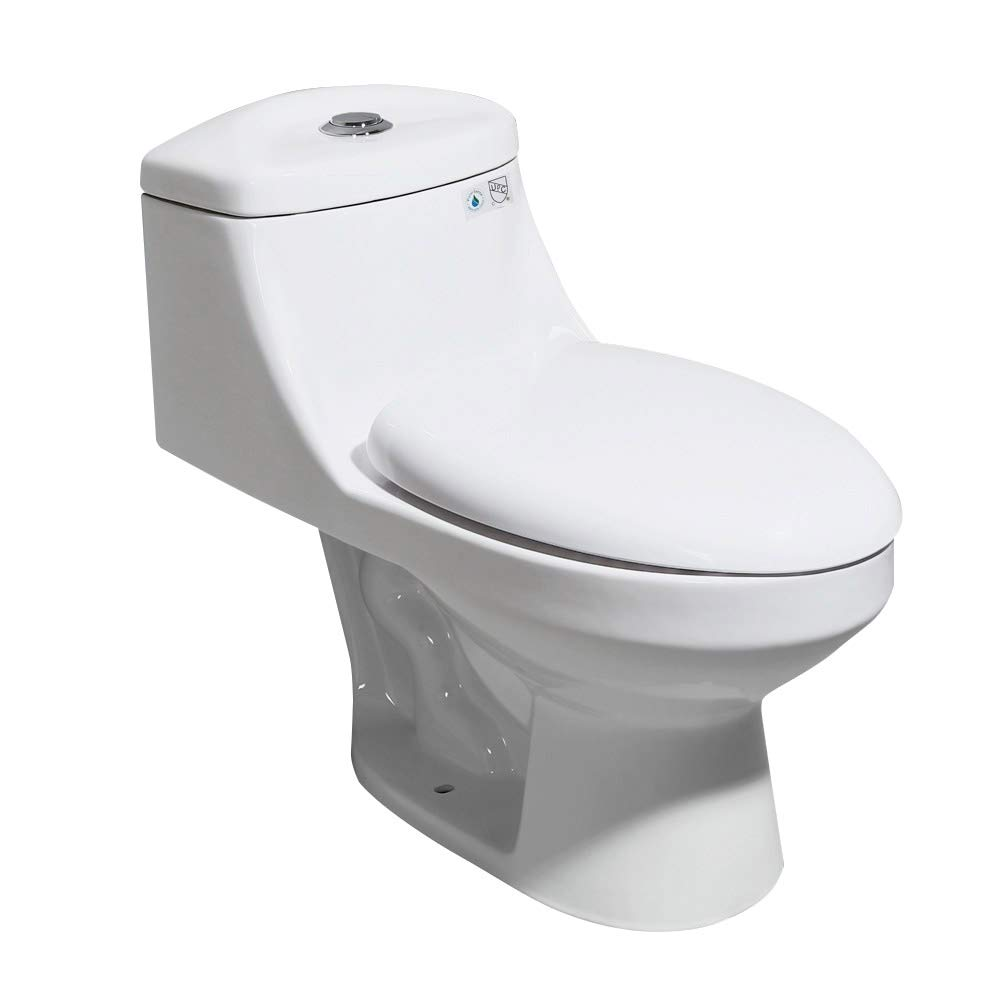 Weibath One-Piece White Dual Flush 0.8/1.6 GPF Compact Elongated Toilet with Slow-Close Lid by Weibath
