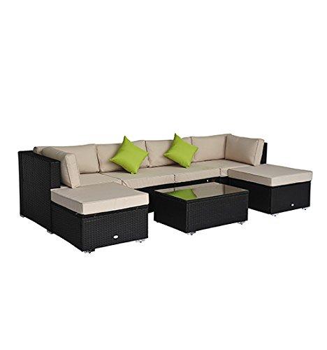 Outsunny Luxus Alu Polyrattan Gartenmöbel Loungeset Sitzgruppe Gartenset 21 tlg. inkl. Kissen