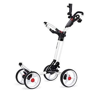 Founders Club Deluxe 4 ruedas Qwik Fold Golf Push Pull Cart con paragüero gratis