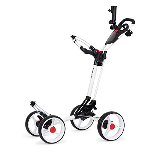 (Founders Club Deluxe 4 Wheel Qwik Fold Golf Push Pull Cart with Free Umbrella Holder (White))