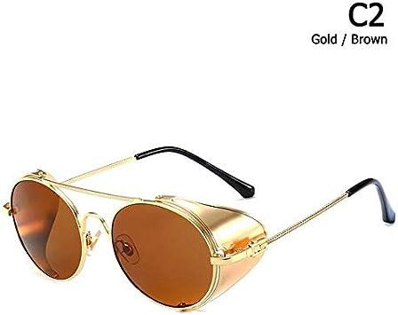 DXXHMJY Gafas de Sol Redondas de Estilo Vintage de Moda Protector Lateral de Metal Diseño de Marca Fresco Gafas de Sol Gafas de Sol