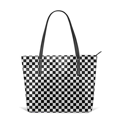 - Classic black and white race check checkered geometric Leather Tote Large Purse Shoulder Bag Portable Storage HandBags Convenient Shoppers Tote