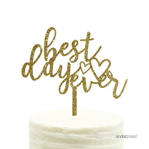 Andaz Press Wedding Acrylic Cake Toppers, Gold Glitter, Best Day Ever, 1-Pack